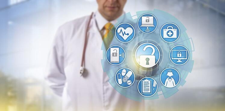 Digital healthcare visualization in front of doctor