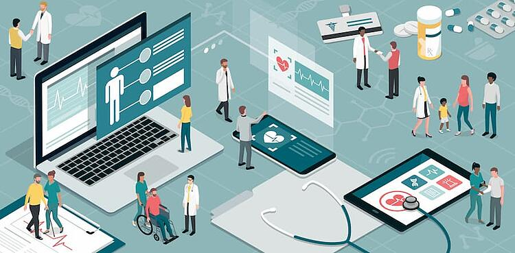 A graphic with digital technology, doctors, nurses and patients