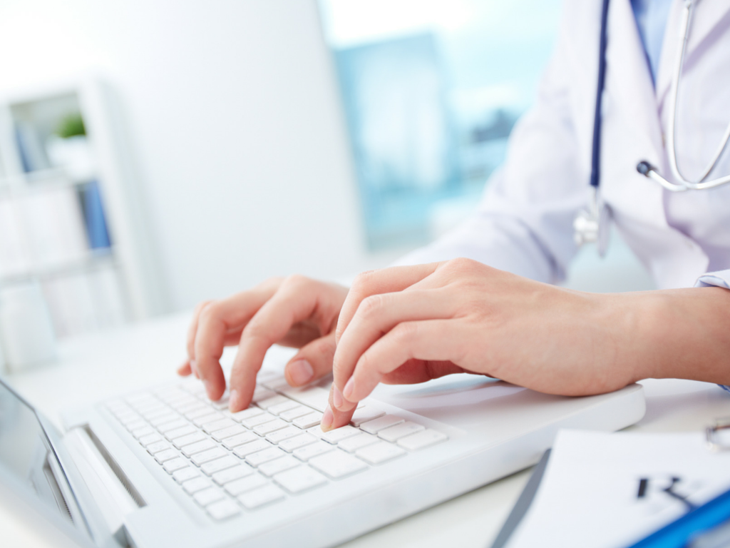 Clinician using healthcare technology