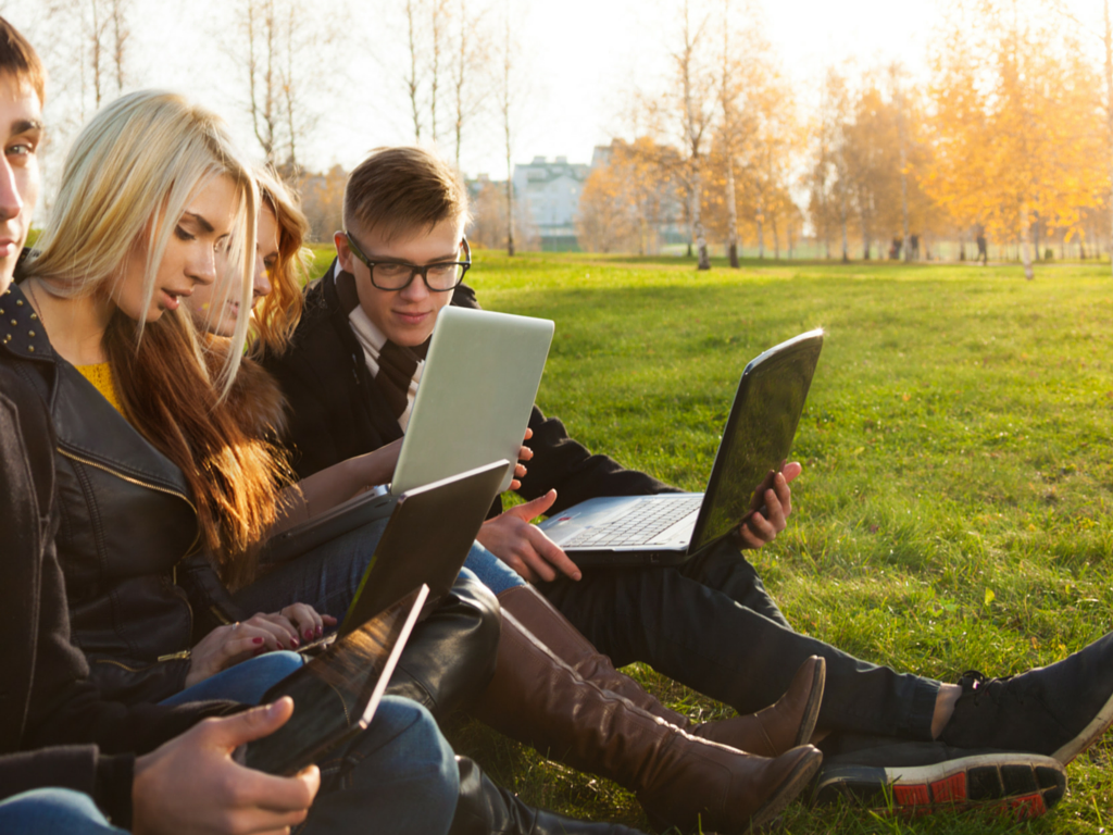 Group of young adult healthcare consumers using laptops in a park