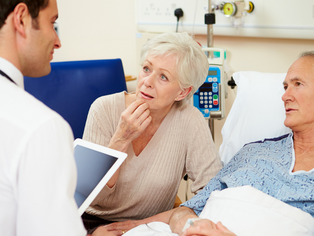 Doctor and elderly healthcare consumers